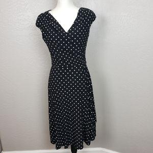LRL Black White Polka Dot Fit N Flare Dress Size 6